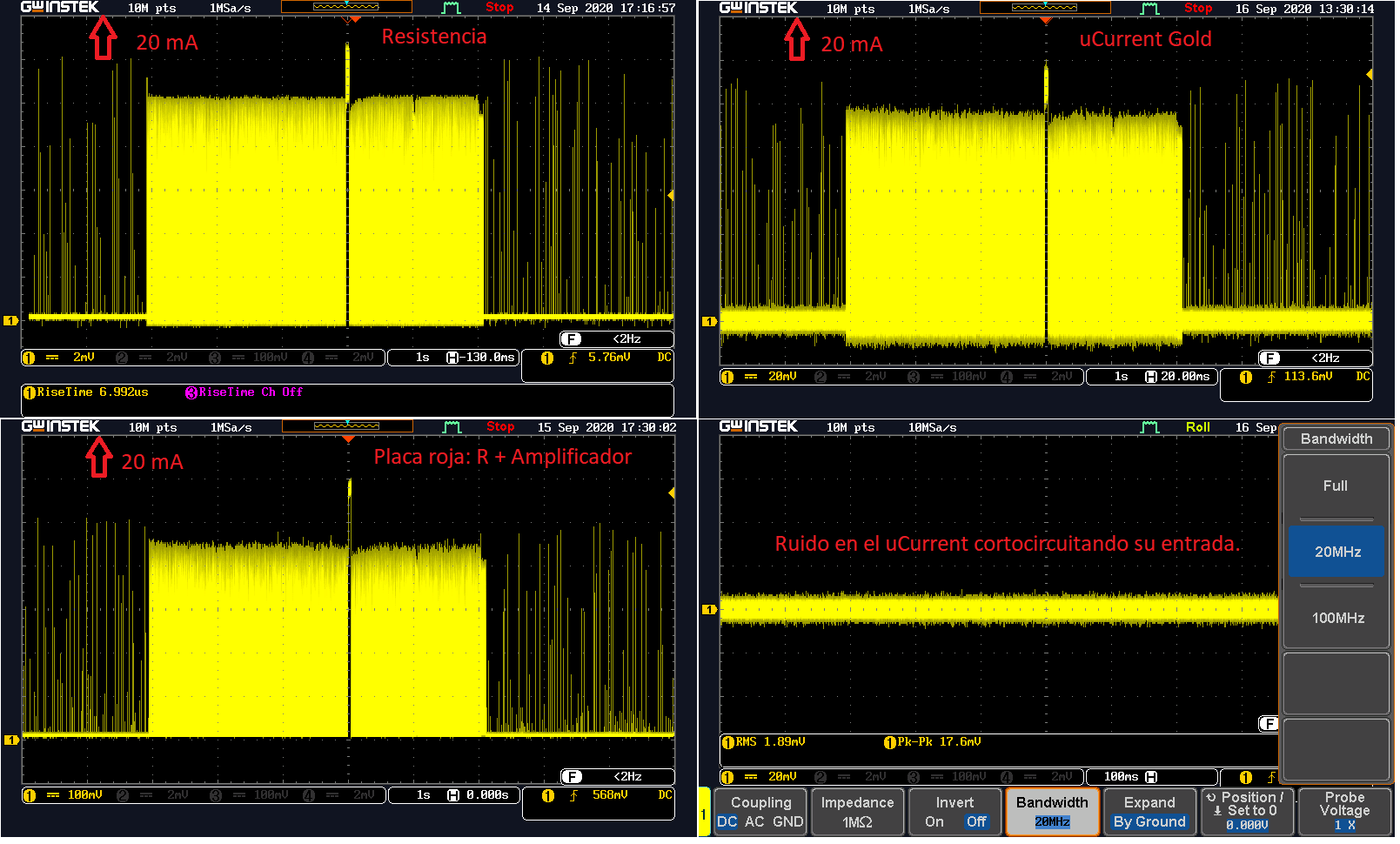Captura con resistencia 0.1 Ohms, R + Amplificador, uCurrent Gold.